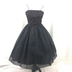 Vintage 1950s Black Junior Theme Circle Dress XS